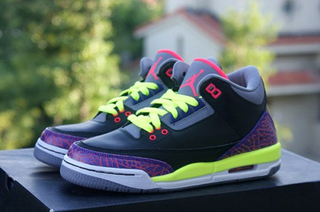 Air Jordan Retro III GS (kids sizes only) black / purple - volt