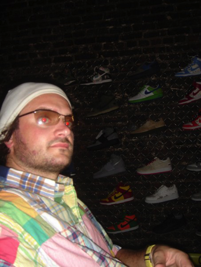 [above: Brian Childers a.k.a. NikeTyson in front of one of his many Sneaker Pimps displays]