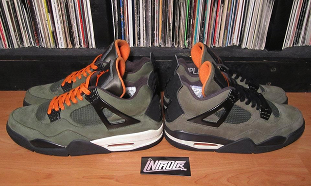 [above: UNDFTD x Jordan Retro IV. Production (left), and sample (right). Only 72 of the final production sneaker (left) were sold.]