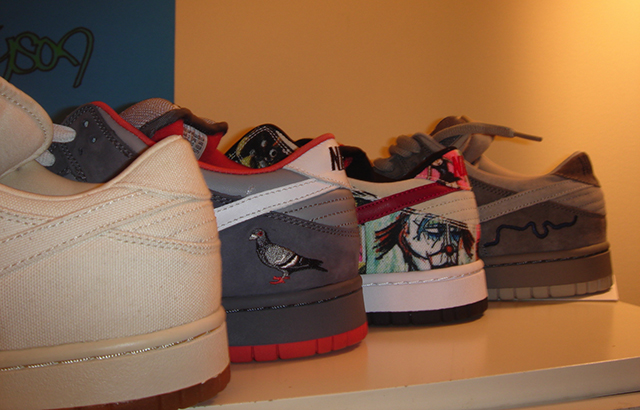 "[above: (left to right) Nike SB Dunk Low Pro ""Tokyo,"" Nike SB Dunk Low ""Pigeon,"" Nike SB Dunk Low ""Paris,"" Nike SB Dunk Low ""London."" Considered to be the ultimate ""City Set"" of the Nike SB series...]"